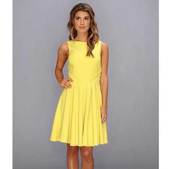 Badgley Mischka Dresses & Skirts - Badgley Mischka Yellow Fit Flare Cocktail Dress